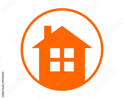 orange circle house home housing residence residential real estate image vector Canvas
