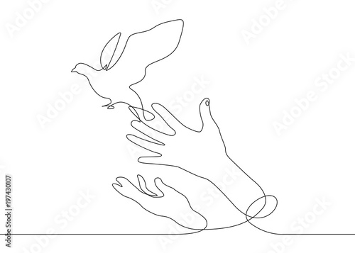 continuous line drawing bird from hand to flight