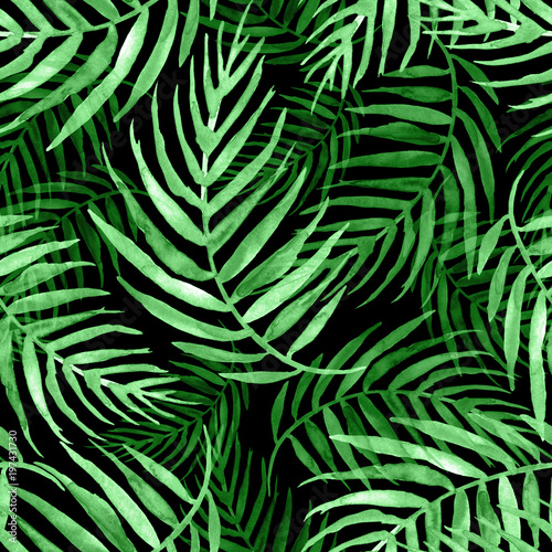 Wall Murals Tropical leaves Seamless watercolor pattern, background. Palm leaf background, postcard. Green tropical palm leaf. Illustration for design wedding invitations, greeting cards, postcards. On a black background
