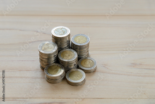 Poster Bar Money coins stack with copy space - finance, business concept