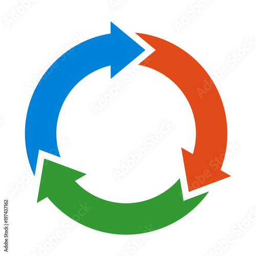 Photo  Three circle arrows in a round rotating circular motion flat vector color icon f