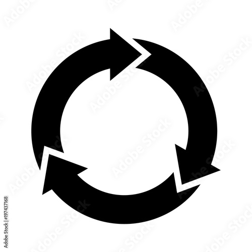Three circle arrows in a round rotating circular motion flat vector icon for app Canvas Print
