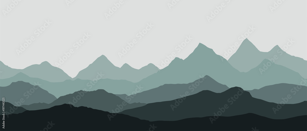 Fototapety, obrazy: panoramic view of the mountain landscape with fog in the valley below with the alpenglow grey sky - seamless