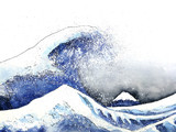 japanese great wave art. watercolor style.hand drawn - 197443171