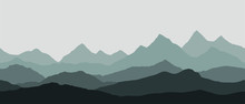 Panoramic View Of The Mountain Landscape With Fog In The Valley Below With The Alpenglow Grey Sky - Seamless