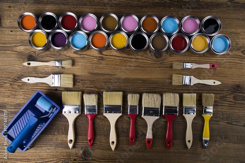 Fototapeta Painting tools and accessories obraz na płótnie