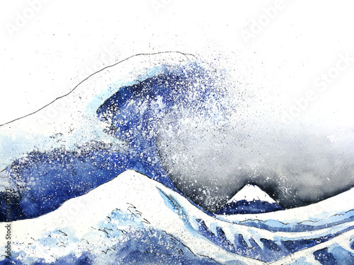Photo japanese great wave art. watercolor style.hand drawn