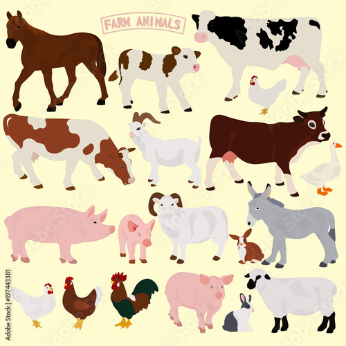 A collection of farm animals on a light background #197443381