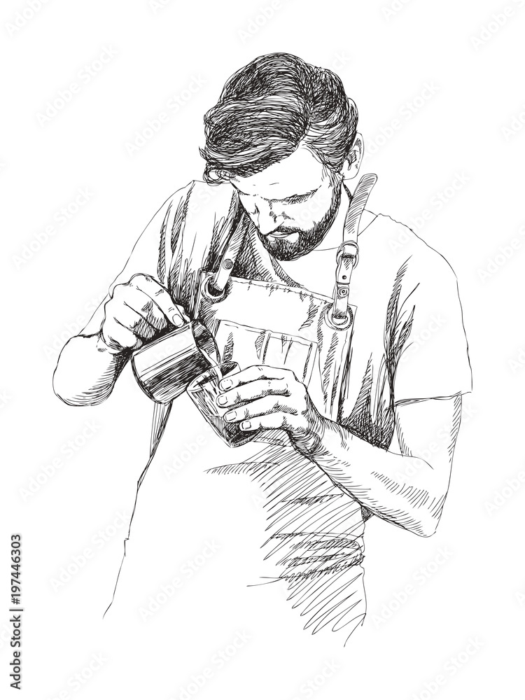 Fototapeta Young barista man. Vector illustration in pencil style. Linear sketch of a man in a coffee bar. Coffee concept. Restaurant concept.