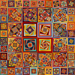 Fototapeta Vintage Amazing bright colors vintage geometric pattern. Vecor