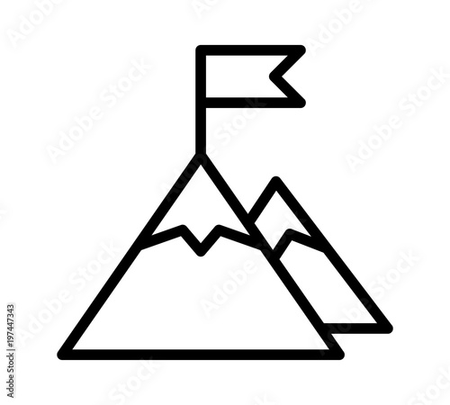 Photo Mountain peak top with flag or goal with high ambitions line art vector icon for