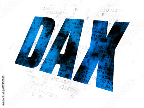 Fototapeta  Stock market indexes concept: Pixelated blue text DAX on Digital background