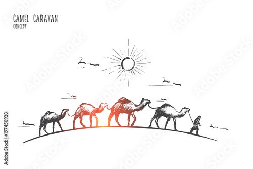Camel caravan concept Wallpaper Mural