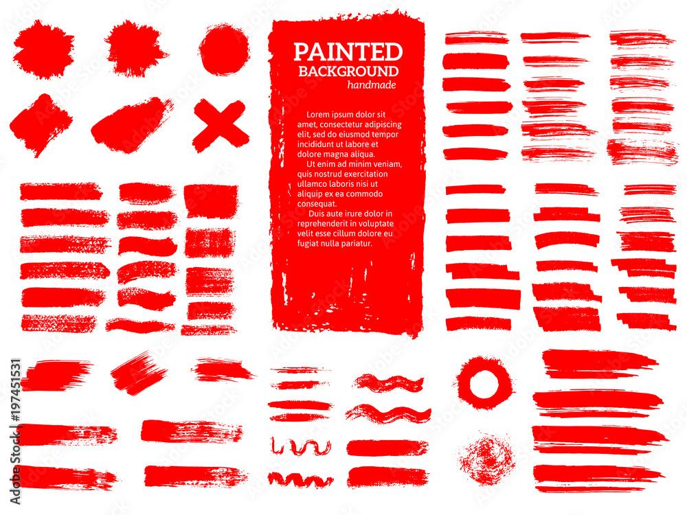 Fototapeta Painted grunge stripes set. Red labels, background, paint textur