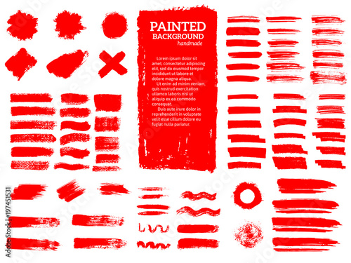 Fototapeta Painted grunge stripes set. Red labels, background, paint textur obraz