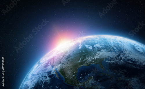 Fototapety, obrazy: Planet Earth. View from space orbit. Photorealistic illustration. Elements of this image are furnished by NASA
