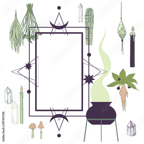 Fotografie, Obraz  Vector frame with witchcraft things