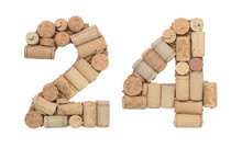 Number 24 Twenty Four Made Of Wine Corks Isolated On White Background