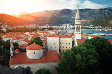 Old Town In Budva In A Beautiful Summer Day. Budva Citadel. Adriatic Sea.