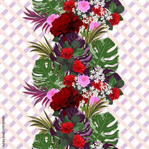 Tropical seamless pattern with beautiful roses on striped background. Flower background for textile, cover, wallpaper, gift packaging, printing.Romantic design for calico, silk.