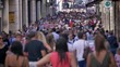 Crowd in City - slow-motion. Countless people walking in a big city