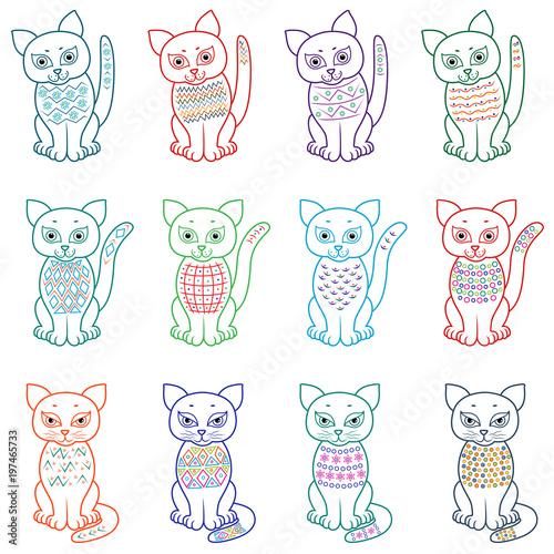 Canvas Prints Owls cartoon Set of amusing cartoon cats