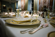 Table In A Luxury Restaurant, Set For A Gala Dinner
