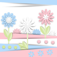 Fototapeta samoprzylepna Greeting card with 3d paper flowers . Romantic design with paper cut flovers in pastel colors. For invitations, wedding, birthday and other festive projects. Flower field.