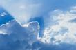 Leinwandbild Motiv Blue Sky Cloud like heaven with sun rise light ray beam