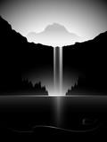 dark minimal vector landscape with waterfall, lake and mountain peak