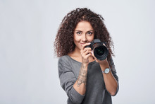 Smiling Woman Photographer Wit...