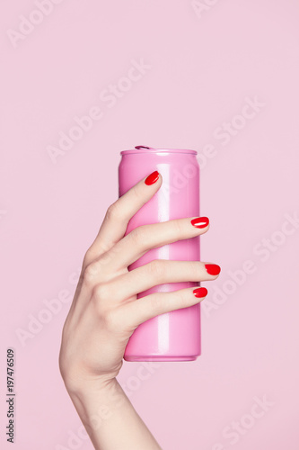 Cuadros en Lienzo Nails Design. Red Manicure On Woman Hands.