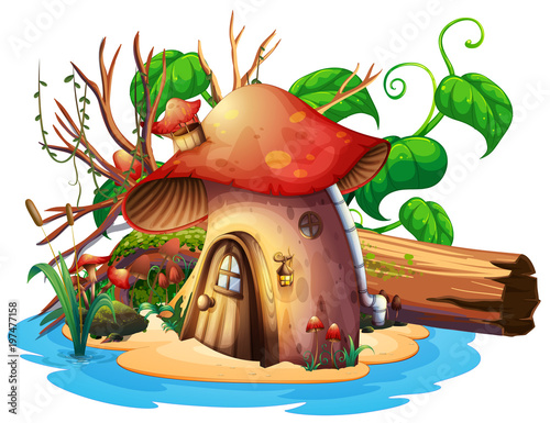 Poster Magic world Mushroom house with garden on island