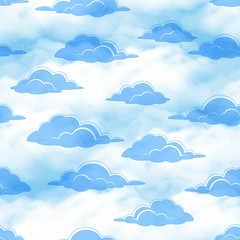 Panel Szklany Niebo Seamless Cloudscape Background, Blue Clouds on Tile Sky. Vector