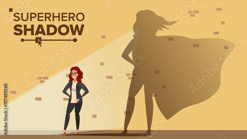 Businesswoman Superhero Shadow Vector Wallpaper Mural
