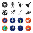 Planet Earth with continents and oceans, flying satellite, Ursa Major, UFO. Space set collection icons in black,flet style vector symbol stock illustration web.