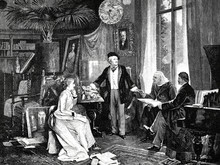 Richard Und Cosima Wagner Mit Liszt Und Hans V. Wolzogen In Ihrem Heim Wahnfried Um 1880