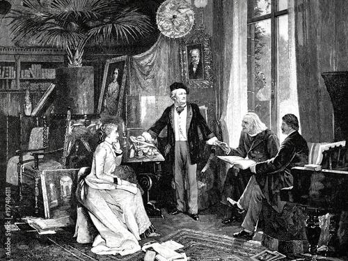 Richard und Cosima Wagner mit Liszt und Hans v Tableau sur Toile