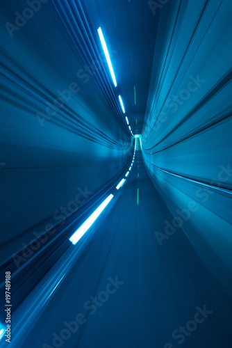 Speed motion blurred underground subway tunnel