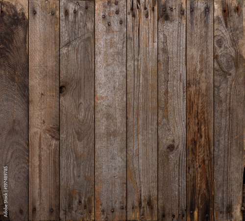 Papiers peints Bois Wood texture background. Wooden planks background, weathered, with rusty nails, top view, sharp and highly detailed.