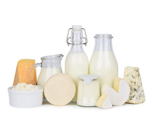 Dairy Products Set Isolated On White Background