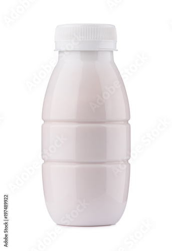 small yogurt bottle closed blank and clean isolated on white