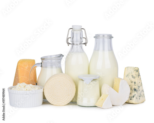 Montage in der Fensternische Milchprodukt Dairy products set isolated on white background