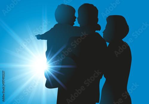 famille - parent - enfant - silhouette - bonheur - amour - ensemble - heureux - Wallpaper Mural