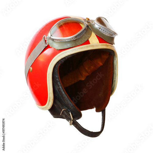 Foto op Plexiglas Motorsport Retro helmet with goggles on a white background. Protective headwear for motorcycle and automobile race.