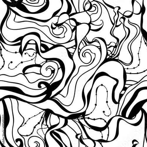 Foto op Canvas Klassieke abstractie seamless vector abstract waves hair curls pattern