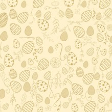Seamless Floral Decorative Pattern With Easter Eggs On Brown Background