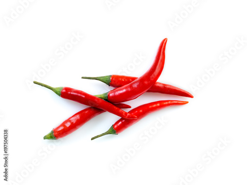 Red hot chili pepper on white background, top view