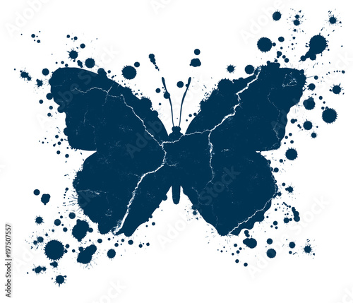 Fotobehang Vlinders in Grunge Grunge butterfly shape and paint blobs splattered