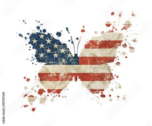 Foto auf Leinwand Schmetterlinge im Grunge Butterfly shaped grunge vintage American US flag